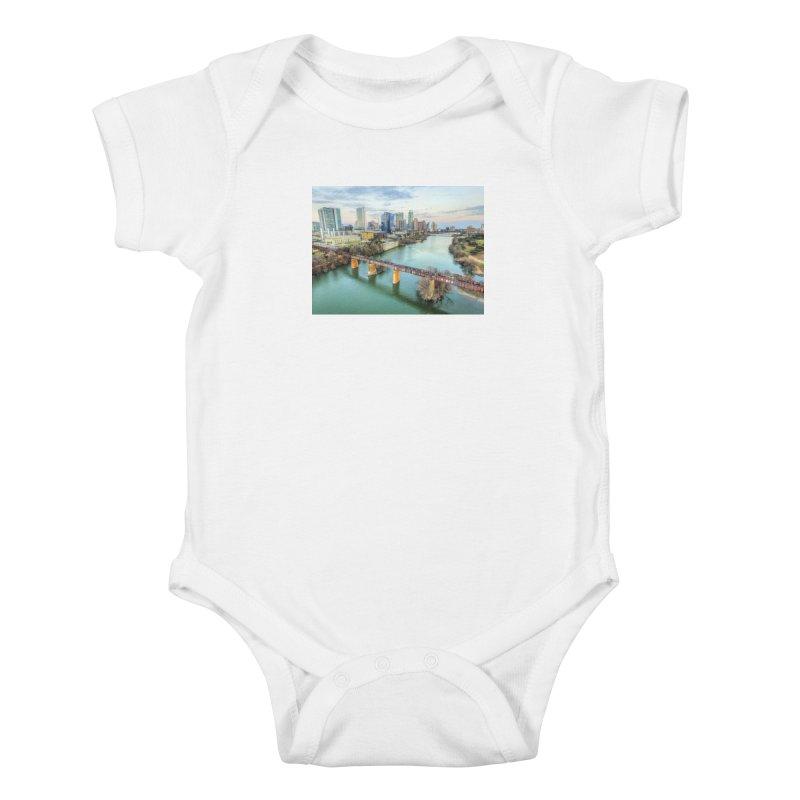 Austin Skyline Bridge / Custom Merchandise / Aerial Photography Kids Baby Bodysuit by Holp Photography Artist Shop