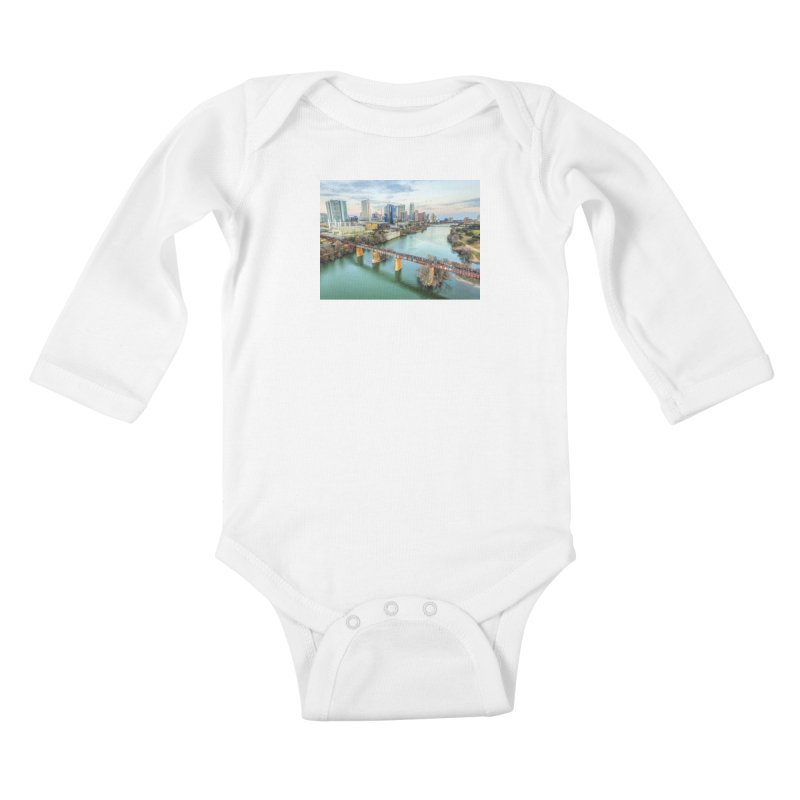 Austin Skyline Bridge / Custom Merchandise / Aerial Photography Kids Baby Longsleeve Bodysuit by Holp Photography Artist Shop