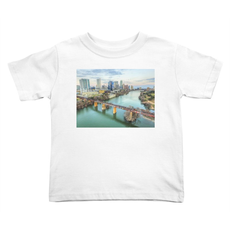 Austin Skyline Bridge / Custom Merchandise / Aerial Photography Kids Toddler T-Shirt by Holp Photography Artist Shop