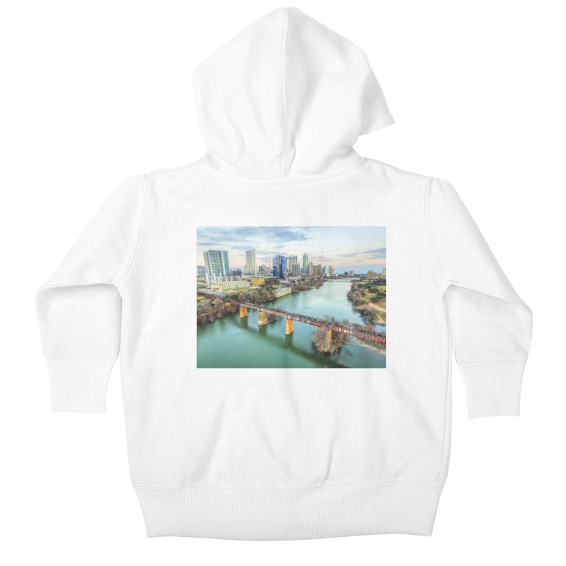 Austin Skyline Bridge / Custom Merchandise / Aerial Photography Kids Baby Zip-Up Hoody by Holp Photography Artist Shop