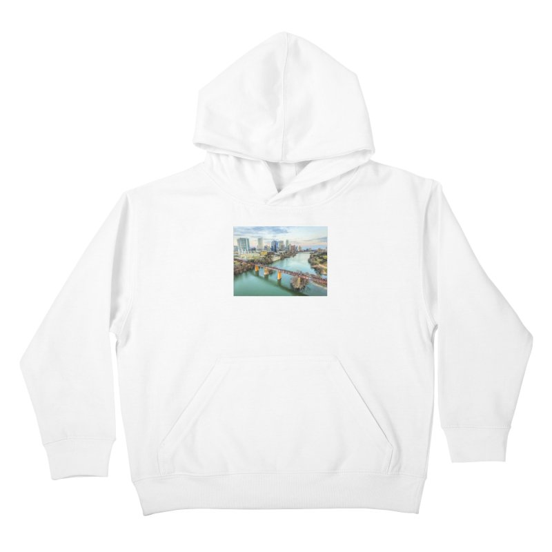 Austin Skyline Bridge / Custom Merchandise / Aerial Photography Kids Pullover Hoody by Holp Photography Artist Shop
