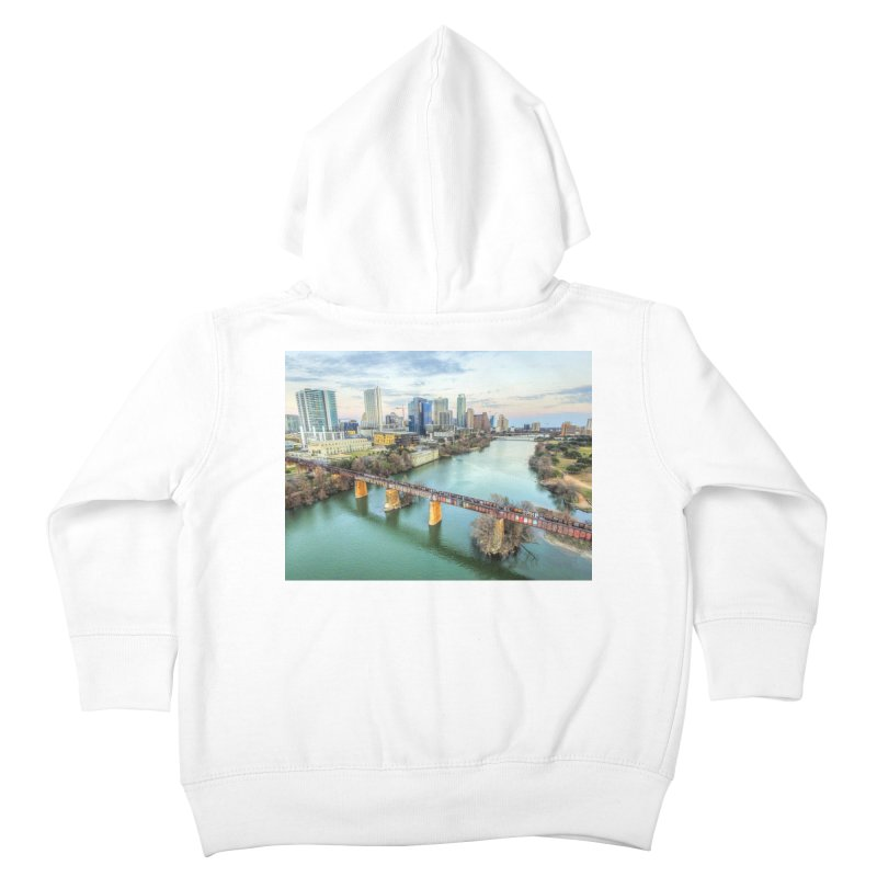 Austin Skyline Bridge / Custom Merchandise / Aerial Photography Kids Toddler Zip-Up Hoody by Holp Photography Artist Shop