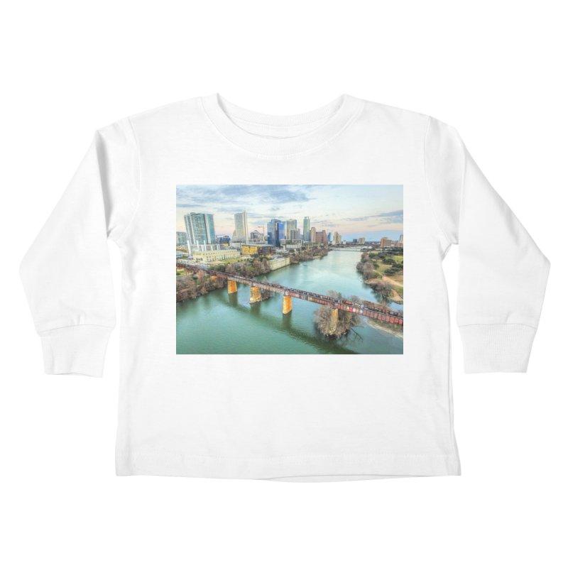 Austin Skyline Bridge / Custom Merchandise / Aerial Photography Kids Toddler Longsleeve T-Shirt by Holp Photography Artist Shop