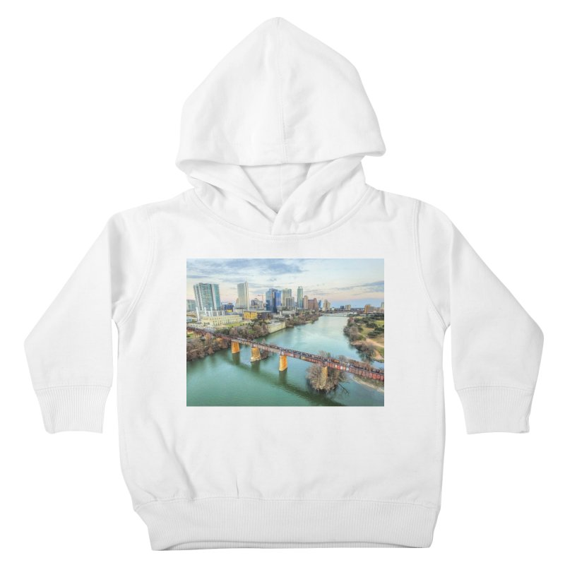 Austin Skyline Bridge / Custom Merchandise / Aerial Photography Kids Toddler Pullover Hoody by Holp Photography Artist Shop