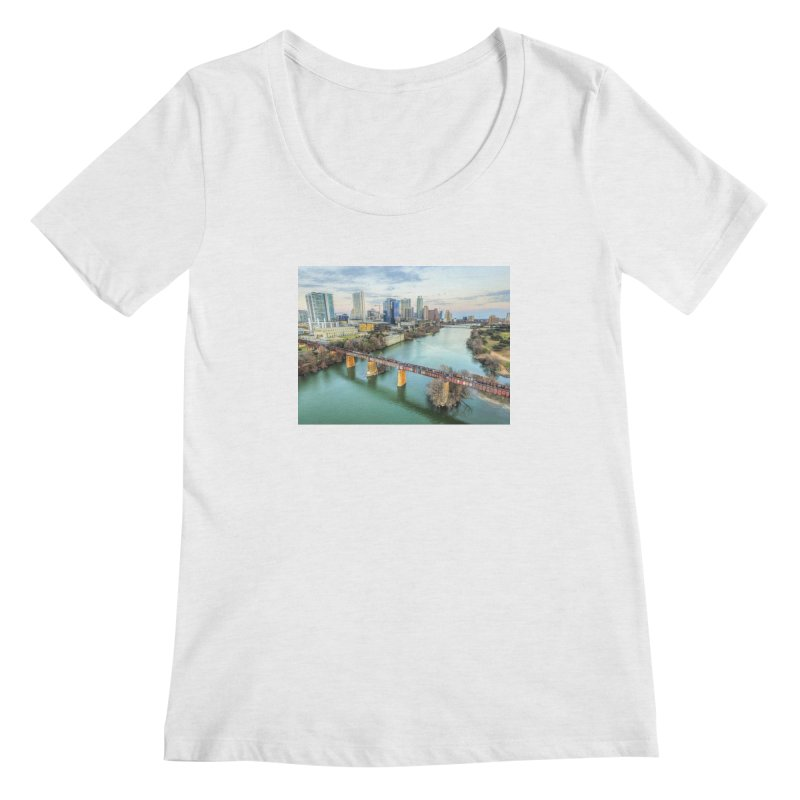Austin Skyline Bridge / Custom Merchandise / Aerial Photography Women's Regular Scoop Neck by Holp Photography Artist Shop