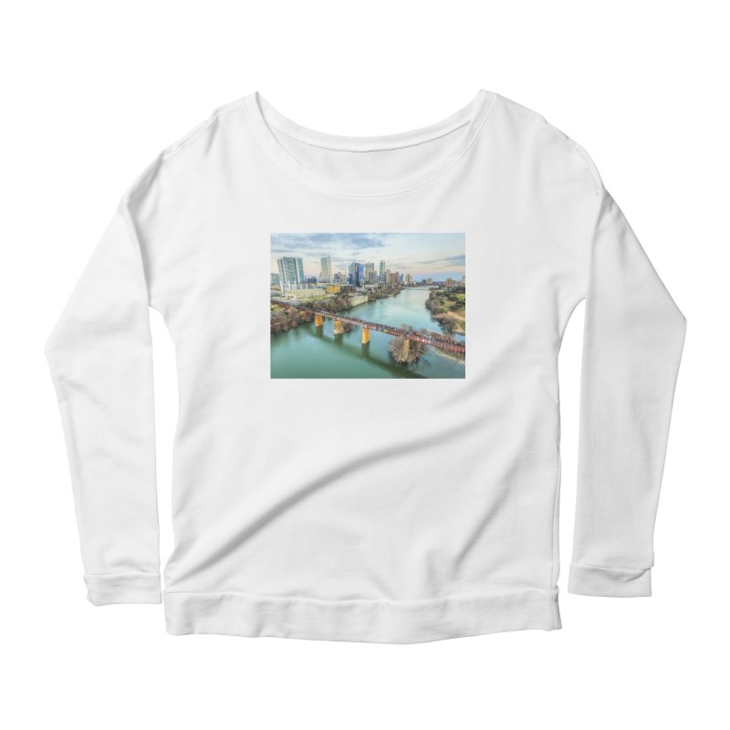 Austin Skyline Bridge / Custom Merchandise / Aerial Photography Women's Scoop Neck Longsleeve T-Shirt by Holp Photography Artist Shop
