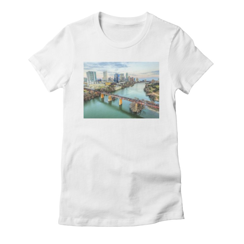 Austin Skyline Bridge / Custom Merchandise / Aerial Photography Women's Fitted T-Shirt by Holp Photography Artist Shop