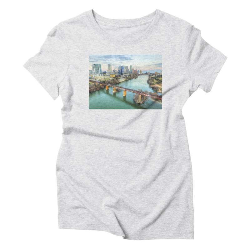 Austin Skyline Bridge / Custom Merchandise / Aerial Photography Women's Triblend T-Shirt by Holp Photography Artist Shop