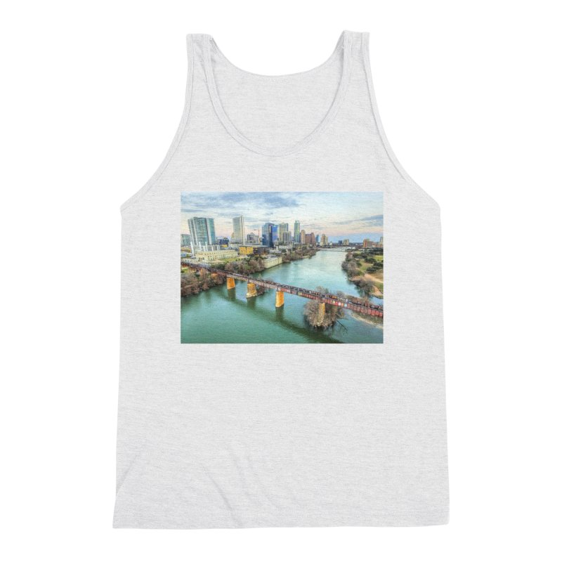 Austin Skyline Bridge / Custom Merchandise / Aerial Photography Men's Triblend Tank by Holp Photography Artist Shop