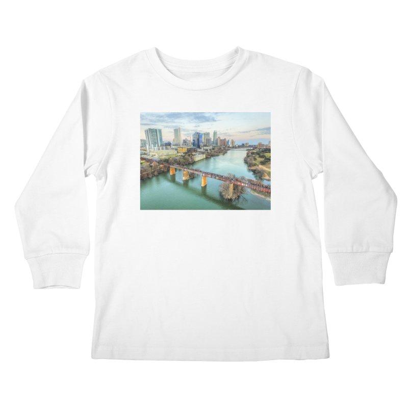 Austin Skyline Bridge / Custom Merchandise / Aerial Photography Kids Longsleeve T-Shirt by Holp Photography Artist Shop