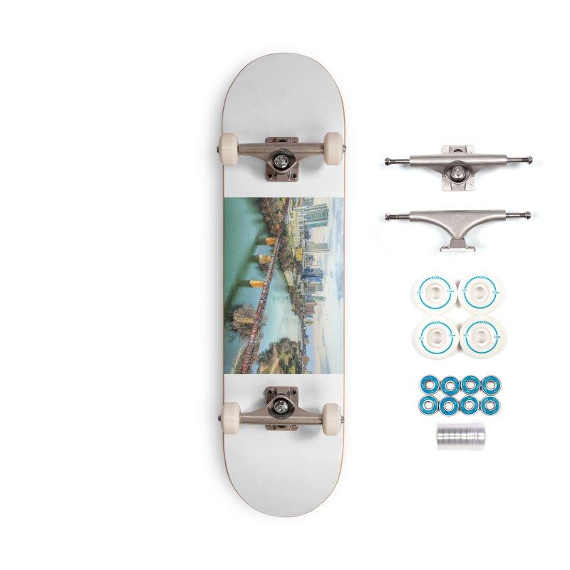 Austin Skyline Bridge / Custom Merchandise / Aerial Photography Accessories Complete - Basic Skateboard by Holp Photography Artist Shop