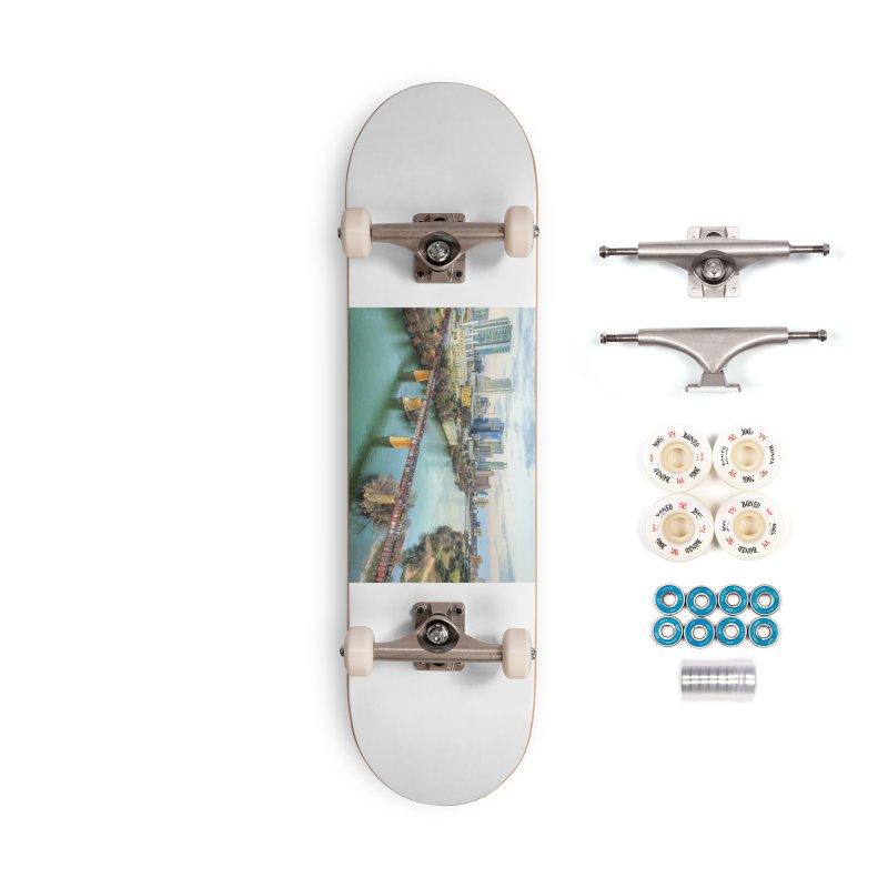 Austin Skyline Bridge / Custom Merchandise / Aerial Photography Accessories Complete - Premium Skateboard by Holp Photography Artist Shop