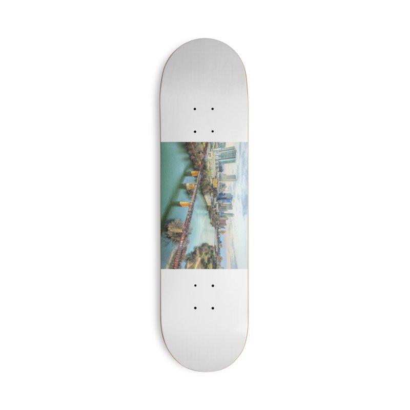 Austin Skyline Bridge / Custom Merchandise / Aerial Photography Accessories Deck Only Skateboard by Holp Photography Artist Shop