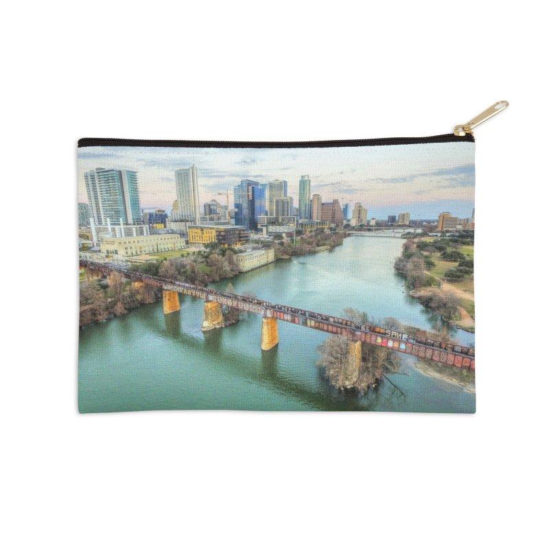 Austin Skyline Bridge / Custom Merchandise / Aerial Photography Accessories Zip Pouch by Holp Photography Artist Shop