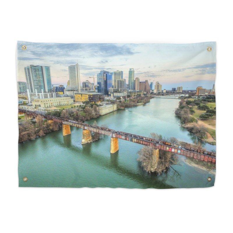 Austin Skyline Bridge / Custom Merchandise / Aerial Photography Home Tapestry by Holp Photography Artist Shop