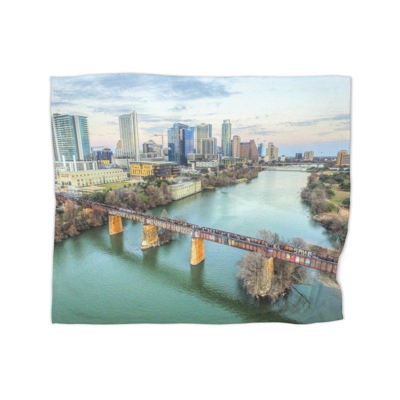Austin Skyline Bridge / Custom Merchandise / Aerial Photography Home Fleece Blanket Blanket by Holp Photography Artist Shop