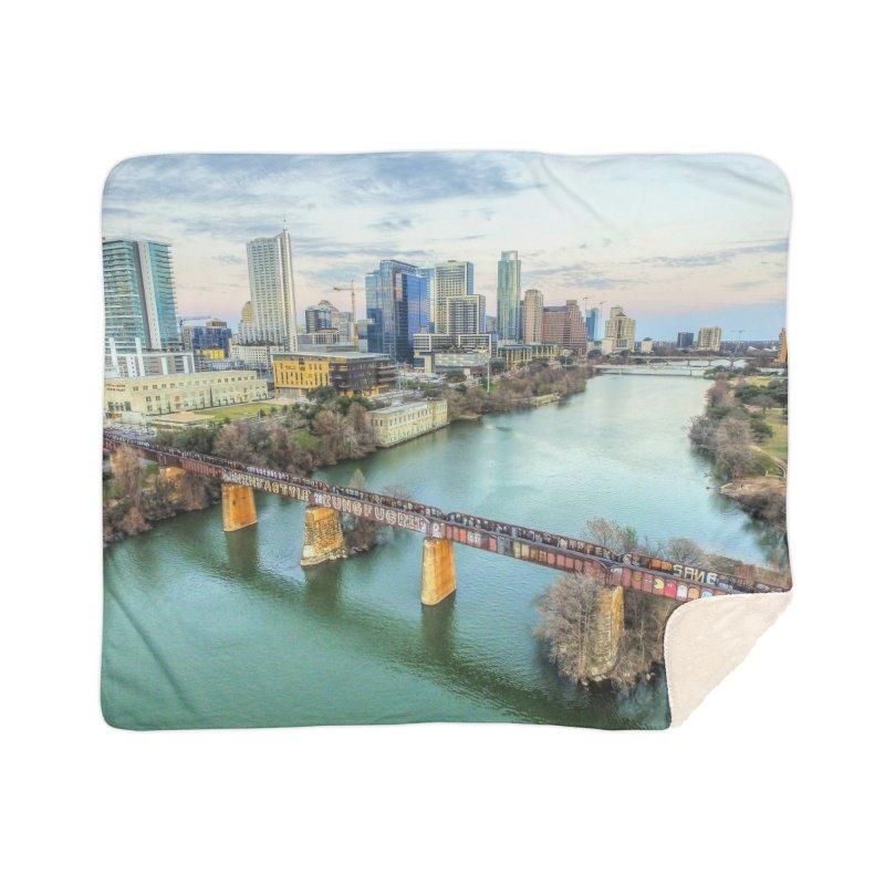 Austin Skyline Bridge / Custom Merchandise / Aerial Photography Home Sherpa Blanket Blanket by Holp Photography Artist Shop