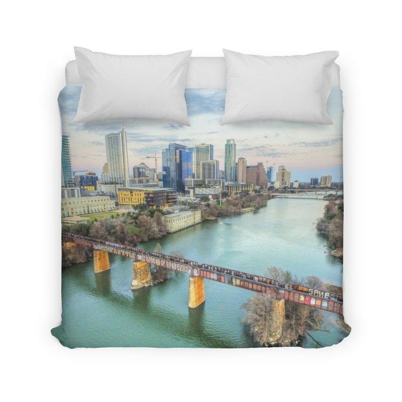 Austin Skyline Bridge / Custom Merchandise / Aerial Photography Home Duvet by Holp Photography Artist Shop