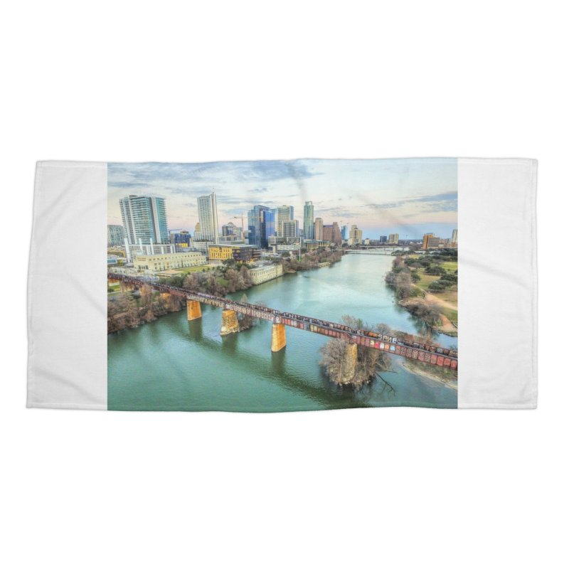 Austin Skyline Bridge / Custom Merchandise / Aerial Photography Accessories Beach Towel by Holp Photography Artist Shop