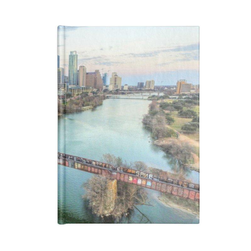 Austin Skyline Bridge / Custom Merchandise / Aerial Photography Accessories Lined Journal Notebook by Holp Photography Artist Shop