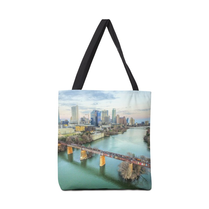 Austin Skyline Bridge / Custom Merchandise / Aerial Photography Accessories Tote Bag Bag by Holp Photography Artist Shop