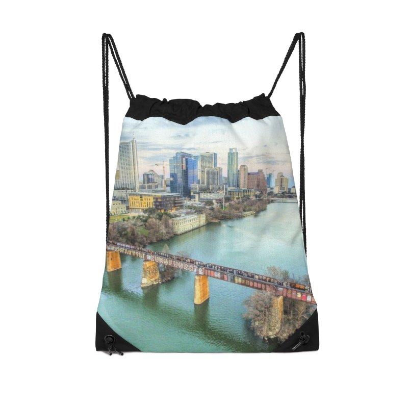 Austin Skyline Bridge / Custom Merchandise / Aerial Photography Accessories Drawstring Bag Bag by Holp Photography Artist Shop