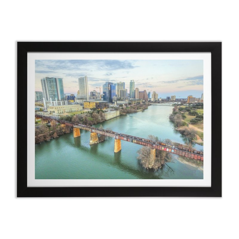 Austin Skyline Bridge / Custom Merchandise / Aerial Photography Home Framed Fine Art Print by Holp Photography Artist Shop