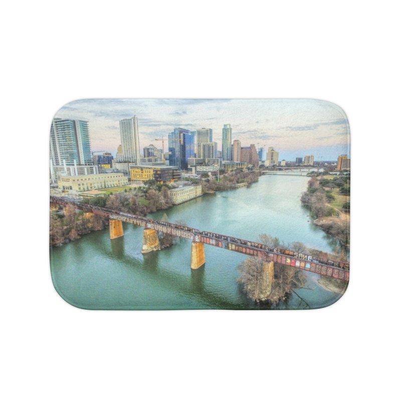 Austin Skyline Bridge / Custom Merchandise / Aerial Photography Home Bath Mat by Holp Photography Artist Shop