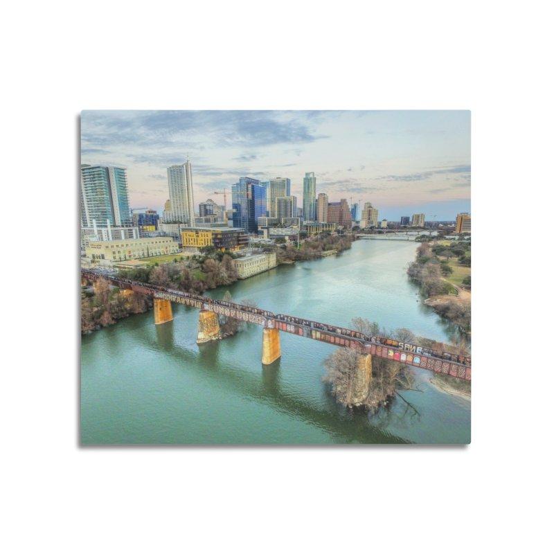 Austin Skyline Bridge / Custom Merchandise / Aerial Photography Home Mounted Aluminum Print by Holp Photography Artist Shop