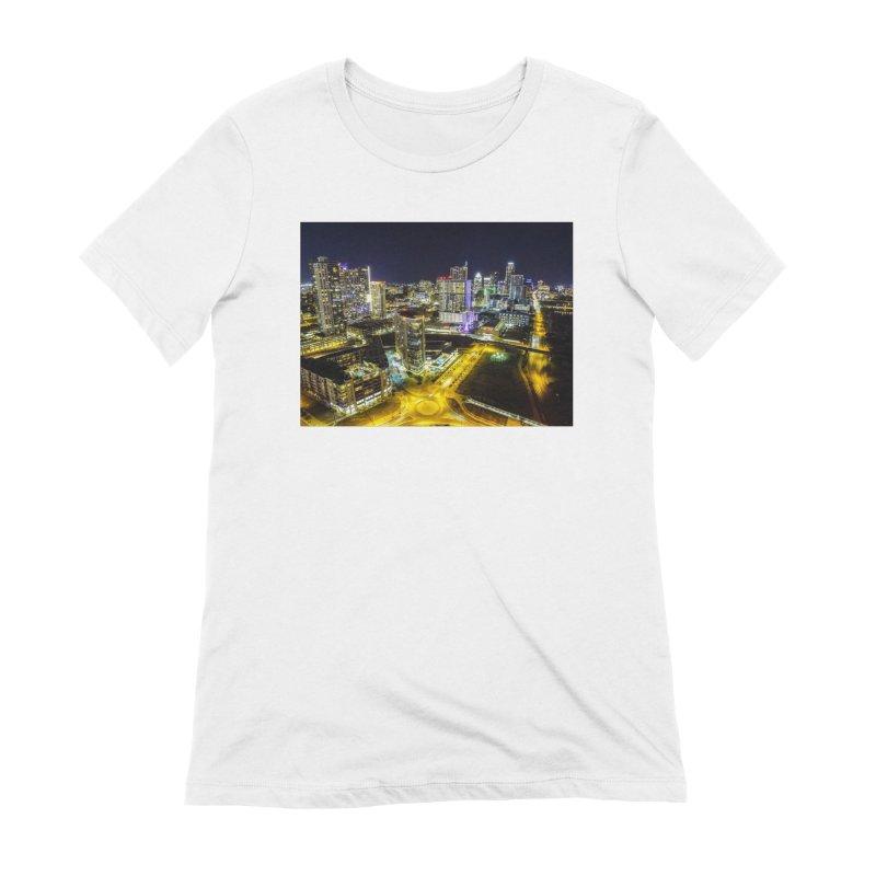 Austin Night Skyline / Custom Merchandise / Aerial Photography Women's Extra Soft T-Shirt by Holp Photography Artist Shop