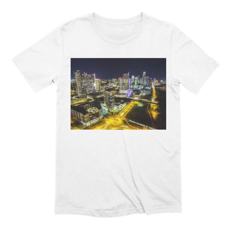 Austin Night Skyline / Custom Merchandise / Aerial Photography Men's Extra Soft T-Shirt by Holp Photography Artist Shop
