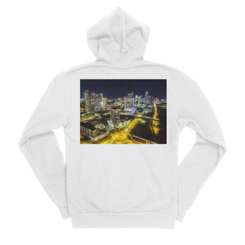 Austin Night Skyline / Custom Merchandise / Aerial Photography Men's Sponge Fleece Zip-Up Hoody by Holp Photography Artist Shop