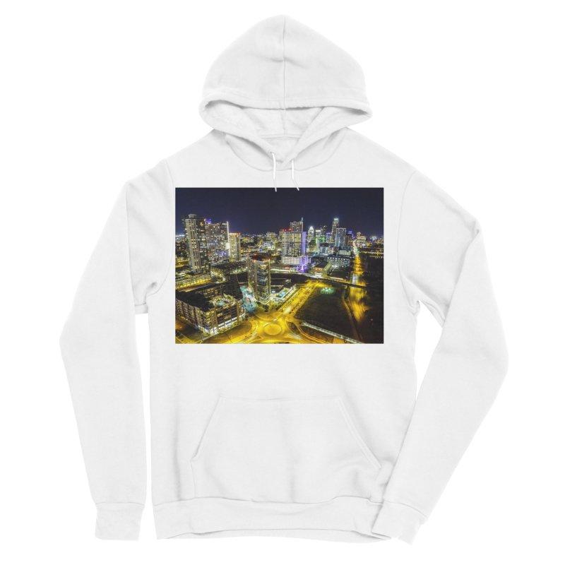 Austin Night Skyline / Custom Merchandise / Aerial Photography Women's Sponge Fleece Pullover Hoody by Holp Photography Artist Shop