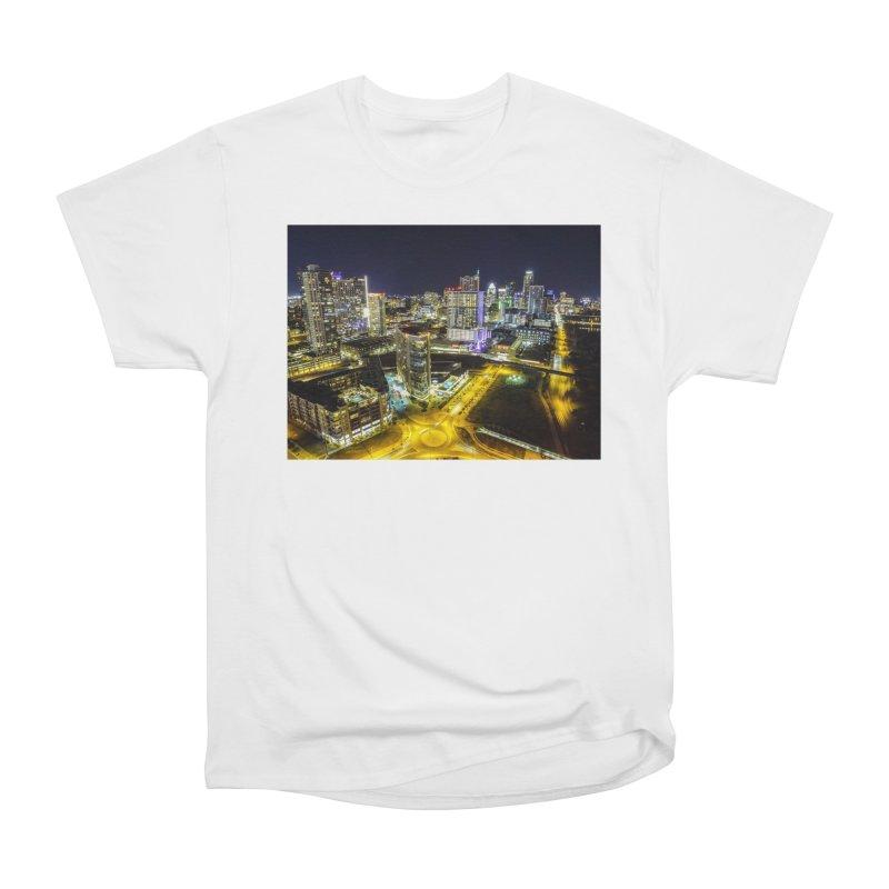 Austin Night Skyline / Custom Merchandise / Aerial Photography Women's Heavyweight Unisex T-Shirt by Holp Photography Artist Shop