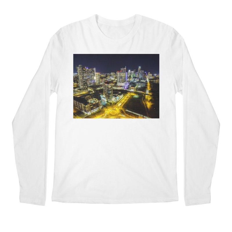 Austin Night Skyline / Custom Merchandise / Aerial Photography Men's Regular Longsleeve T-Shirt by Holp Photography Artist Shop
