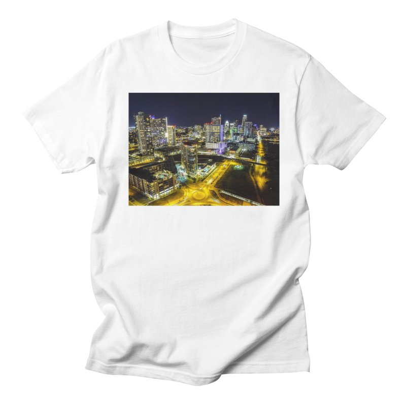 Austin Night Skyline / Custom Merchandise / Aerial Photography Men's Regular T-Shirt by Holp Photography Artist Shop