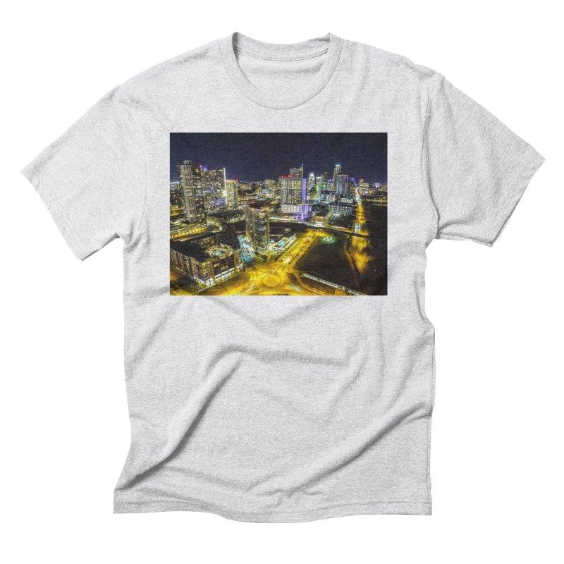 Austin Night Skyline / Custom Merchandise / Aerial Photography Men's Triblend T-Shirt by Holp Photography Artist Shop