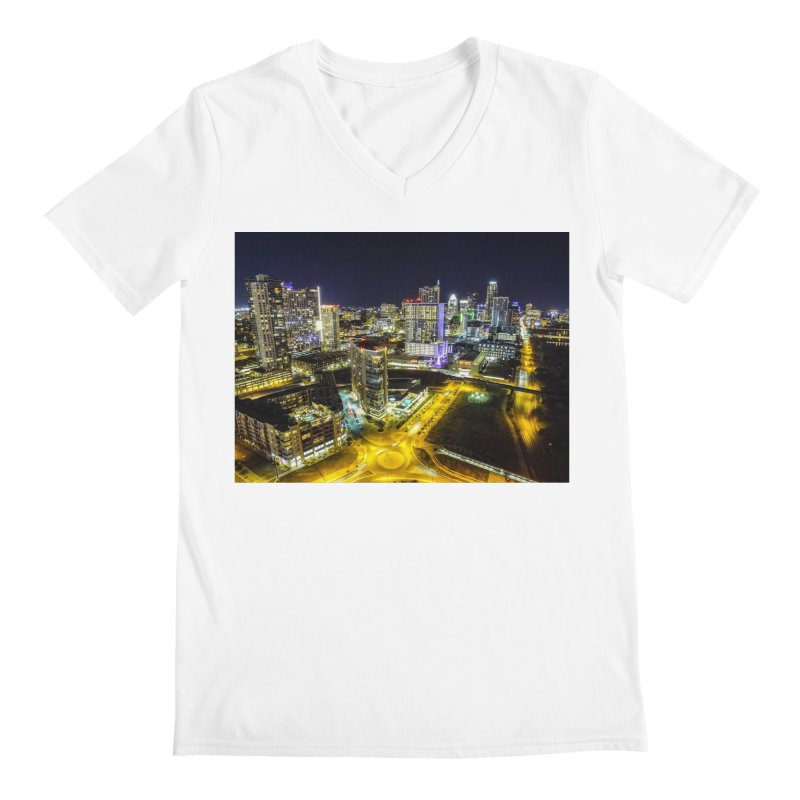 Austin Night Skyline / Custom Merchandise / Aerial Photography Men's Regular V-Neck by Holp Photography Artist Shop