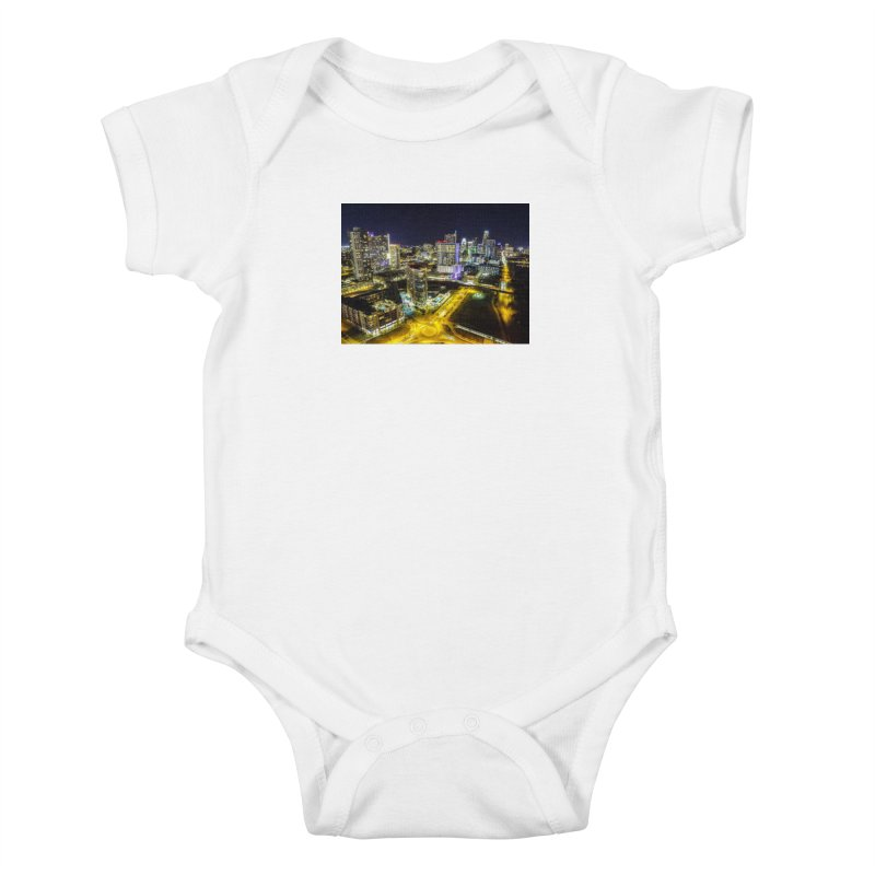 Austin Night Skyline / Custom Merchandise / Aerial Photography Kids Baby Bodysuit by Holp Photography Artist Shop