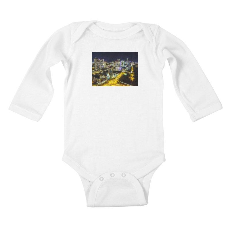 Austin Night Skyline / Custom Merchandise / Aerial Photography Kids Baby Longsleeve Bodysuit by Holp Photography Artist Shop