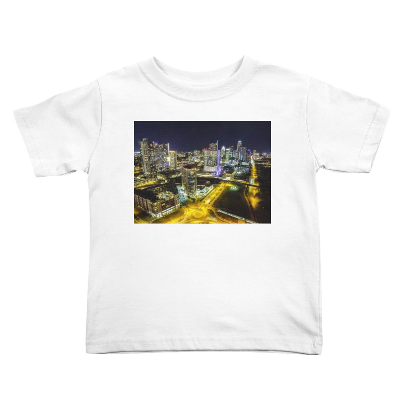 Austin Night Skyline / Custom Merchandise / Aerial Photography Kids Toddler T-Shirt by Holp Photography Artist Shop
