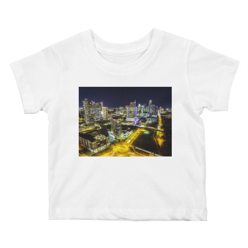 Austin Night Skyline / Custom Merchandise / Aerial Photography Kids Baby T-Shirt by Holp Photography Artist Shop