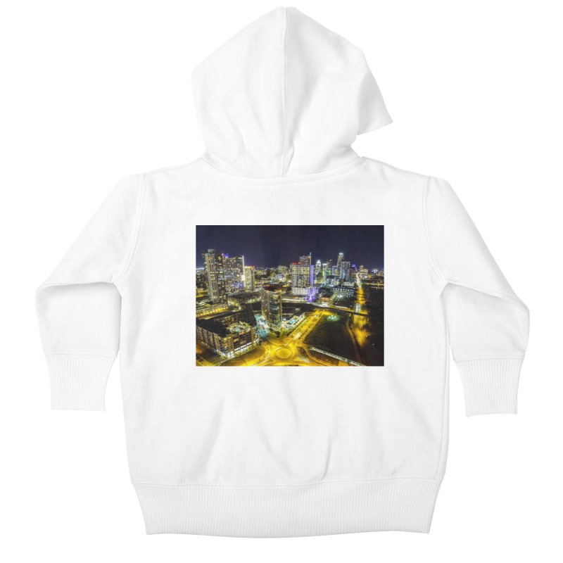 Austin Night Skyline / Custom Merchandise / Aerial Photography Kids Baby Zip-Up Hoody by Holp Photography Artist Shop