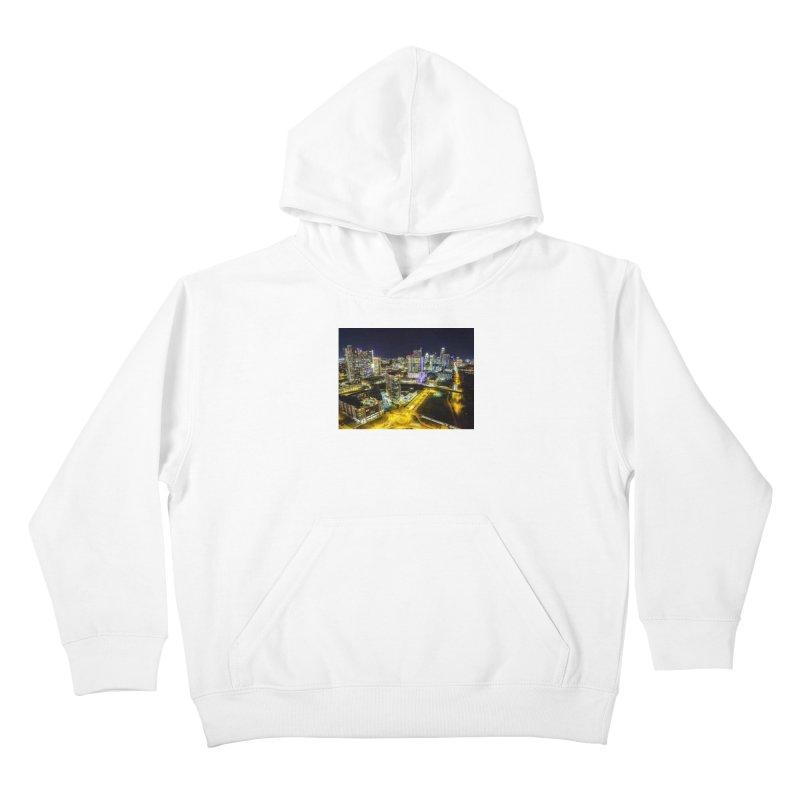 Austin Night Skyline / Custom Merchandise / Aerial Photography Kids Pullover Hoody by Holp Photography Artist Shop