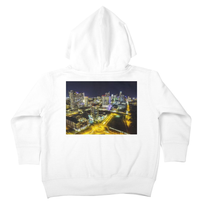 Austin Night Skyline / Custom Merchandise / Aerial Photography Kids Toddler Zip-Up Hoody by Holp Photography Artist Shop