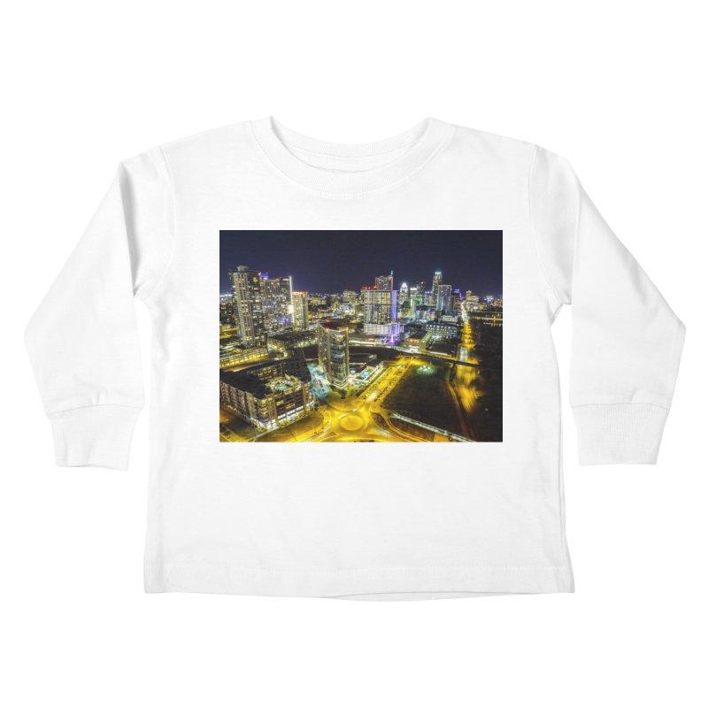 Austin Night Skyline / Custom Merchandise / Aerial Photography Kids Toddler Longsleeve T-Shirt by Holp Photography Artist Shop