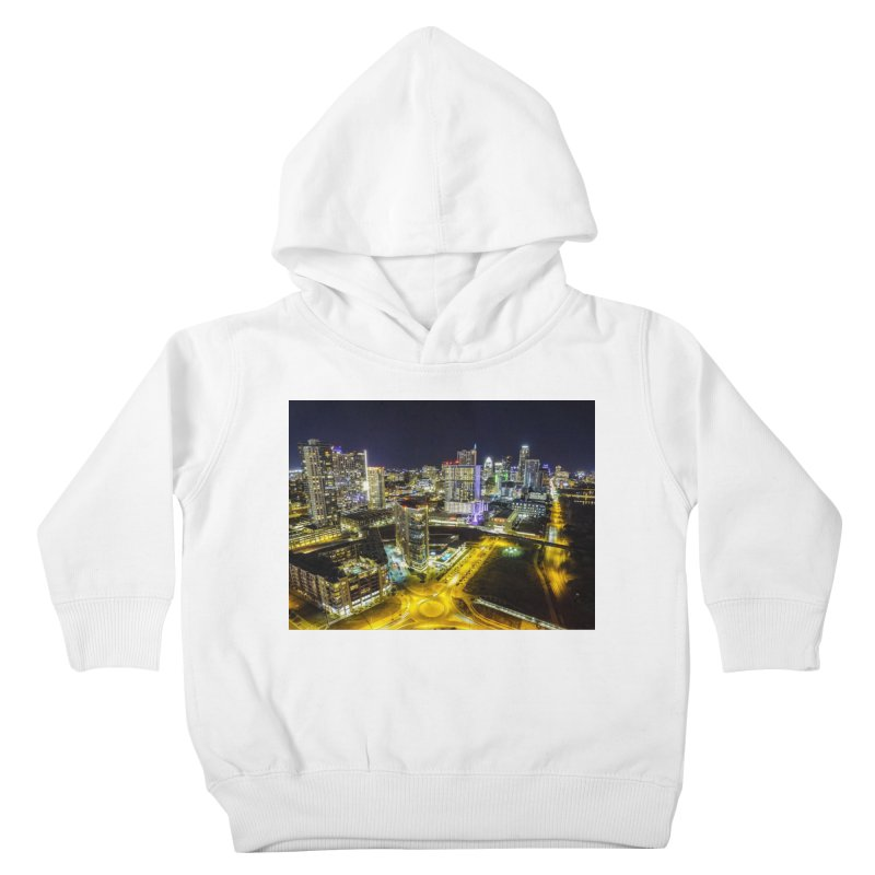 Austin Night Skyline / Custom Merchandise / Aerial Photography Kids Toddler Pullover Hoody by Holp Photography Artist Shop