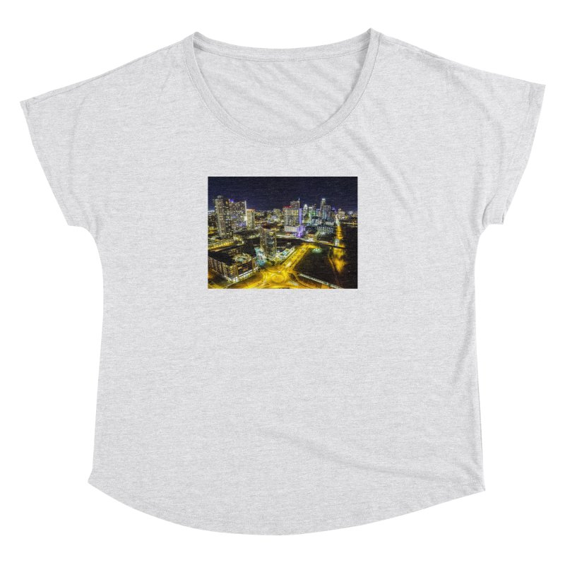 Austin Night Skyline / Custom Merchandise / Aerial Photography Women's Dolman Scoop Neck by Holp Photography Artist Shop
