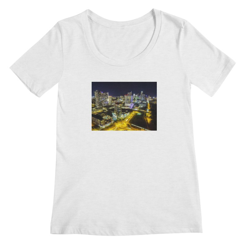 Austin Night Skyline / Custom Merchandise / Aerial Photography Women's Regular Scoop Neck by Holp Photography Artist Shop