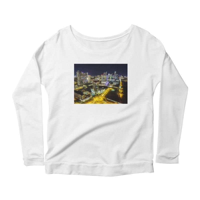 Austin Night Skyline / Custom Merchandise / Aerial Photography Women's Scoop Neck Longsleeve T-Shirt by Holp Photography Artist Shop
